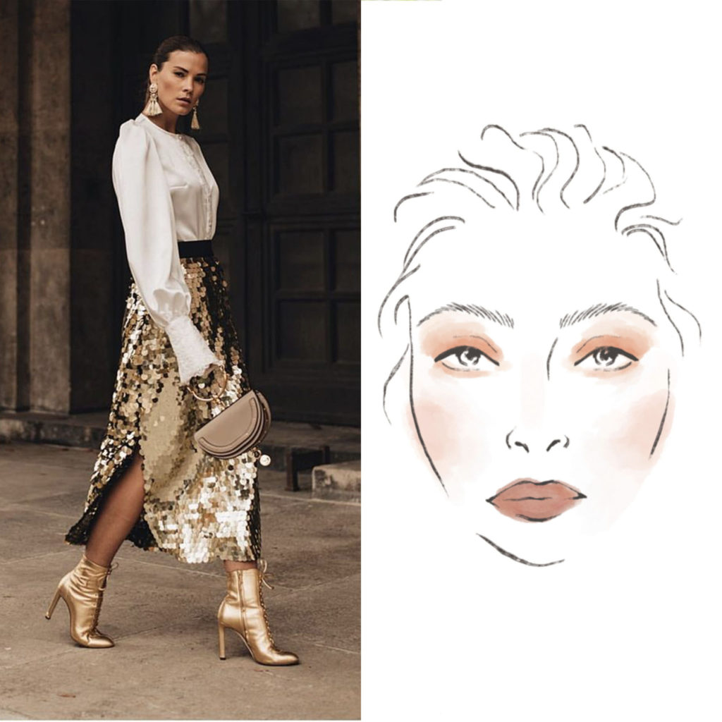 Woman in Sequin Skirt with Accompanying Beauty Face Chart
