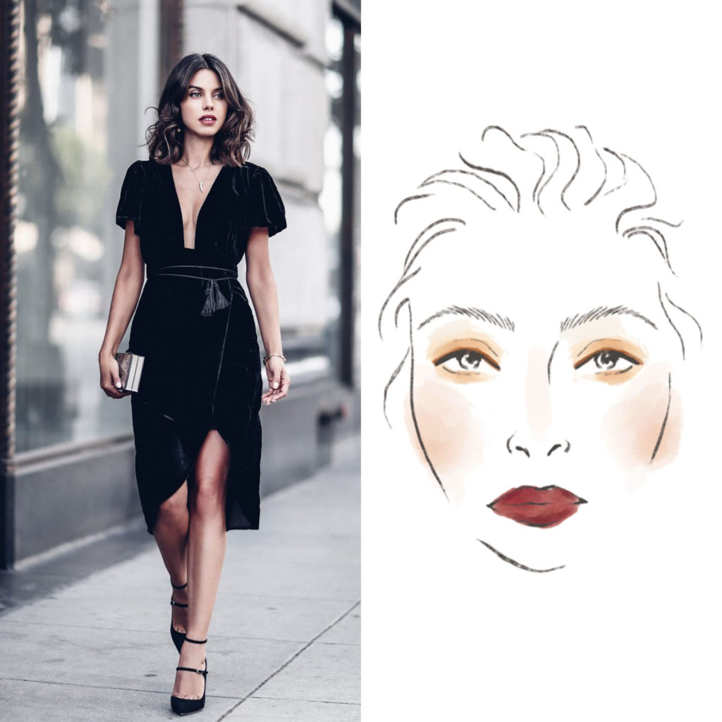 Woman in Black Dress with Accompanying Beauty Face Chart