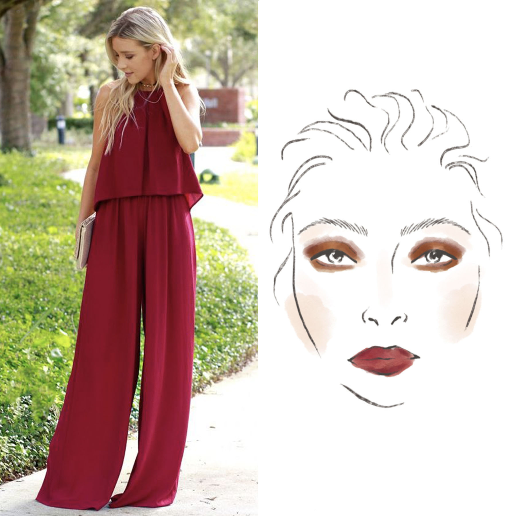 Woman in Burgundy Jumpsuit with Accompanying Beauty Face Chart