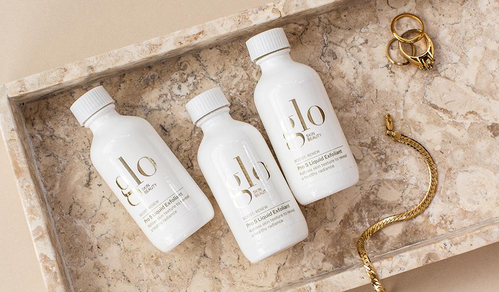 glo skin beauty pro 5 liquid exfoliant with jewelry