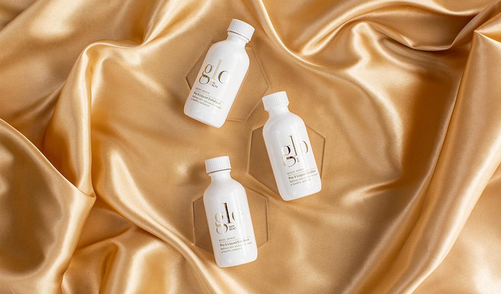 glo skin beauty pro 5 liquid exfoliant on satin material