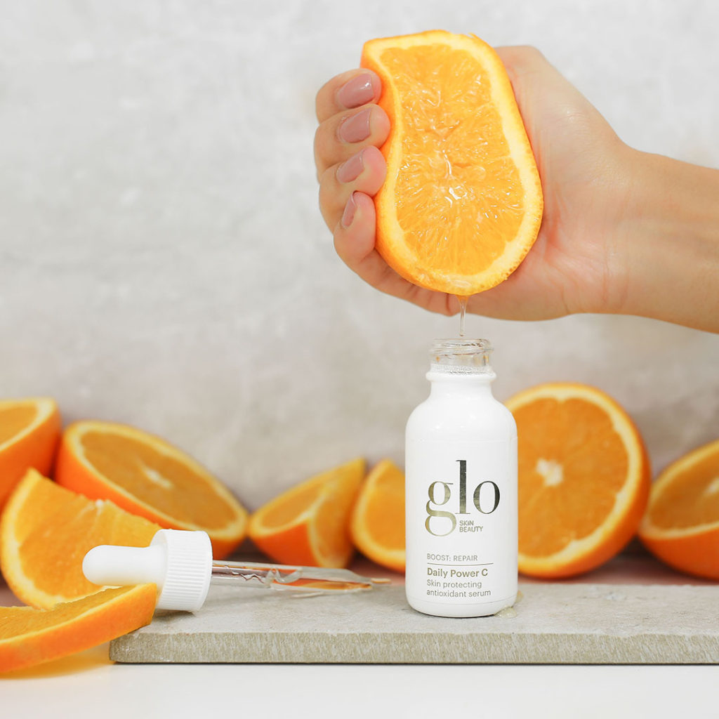 glo skin beauty daily power c with oranges