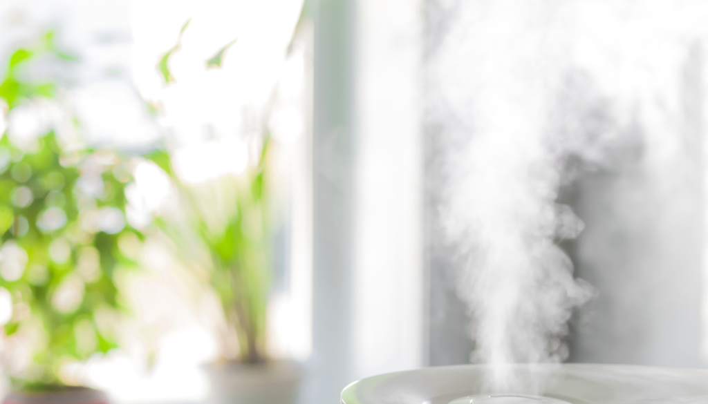steam with plants in background