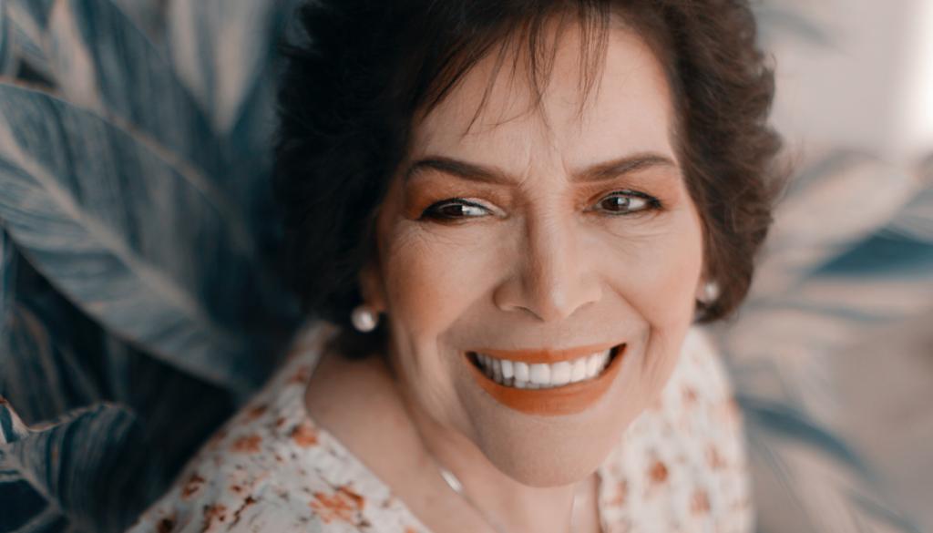 closeup of a woman smiling