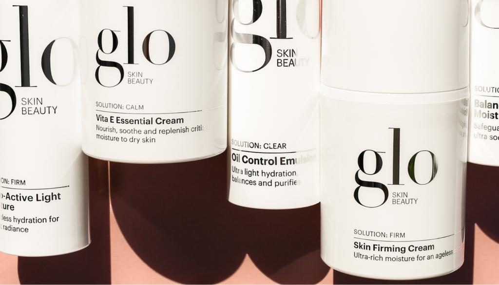 closeup of glo skin skincare products