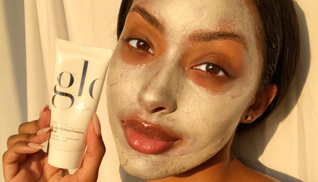 woman with glo skin beauty mask on
