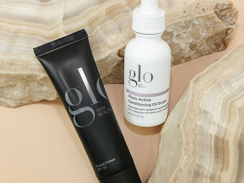 glo skin primer and oil drop products